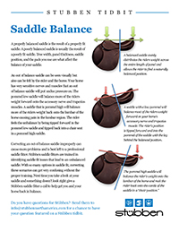 Stübben Tidbit: Saddle Balance
